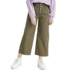 LEVI'S Mile High Cropped Wide Leg Jeans Olive Gree